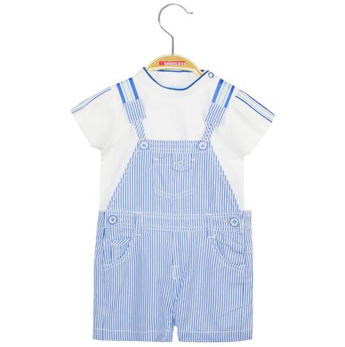 Completo neonato maglietta e salopette a righe bianco e azzurro