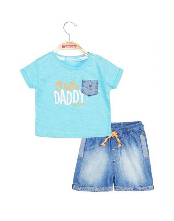 Completo neonato maglietta con taschino e bermuda in denim