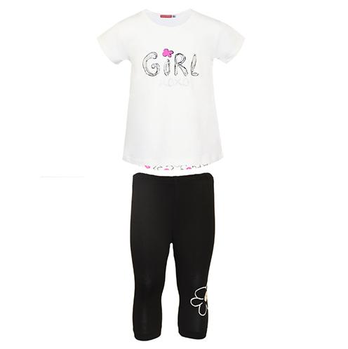 Completo bambina con leggings stile capri e maglietta con stampa