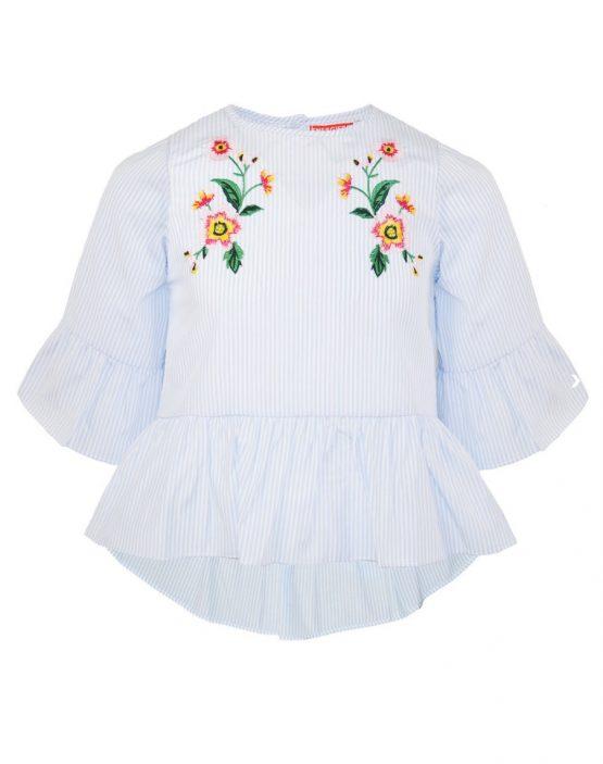 Camicia ragazza a righe con ricami floreali e volant