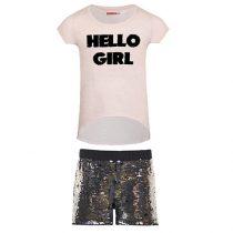 Completo ragazza maglietta con stampa in paillettes e  pantaloncino in pailletes nero