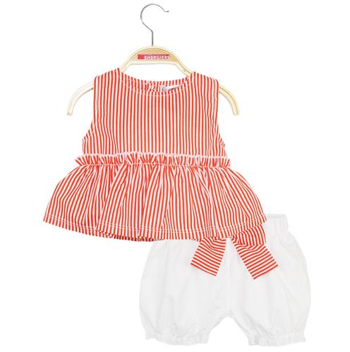 completo pantaloncini con top bianco e canottierina a righe bianche e rosse