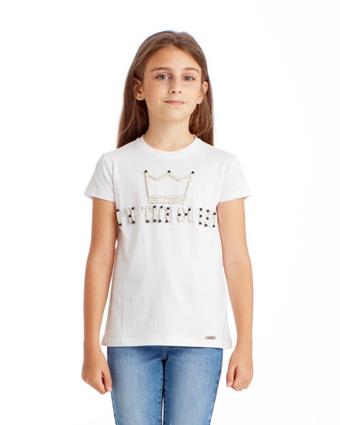 Maglietta bambina con ricamo perle e strass