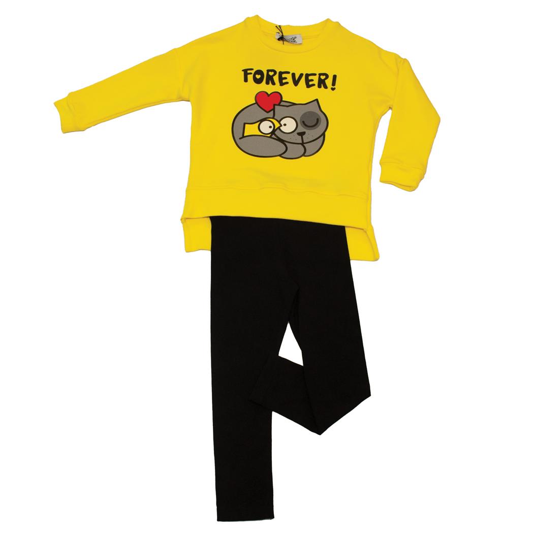 """Completo bambina felpa stampa """"gatto e pennuto"""" con leggings"""