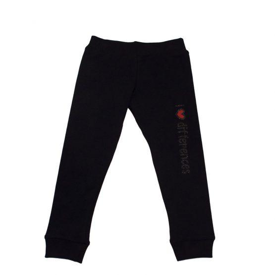 Pantaloni bambina felpati con stampa laterale