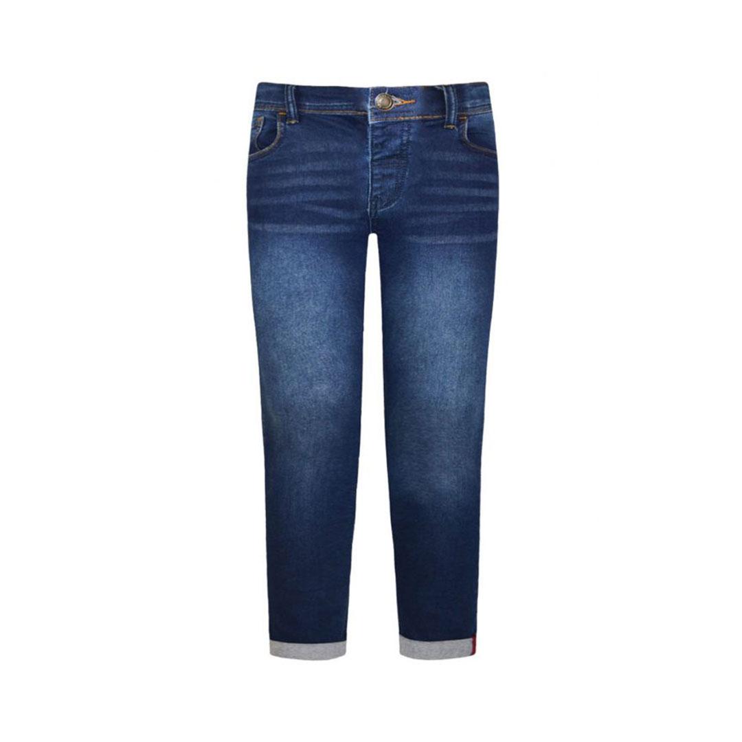 Jeans denim elasticizzati con risvolto