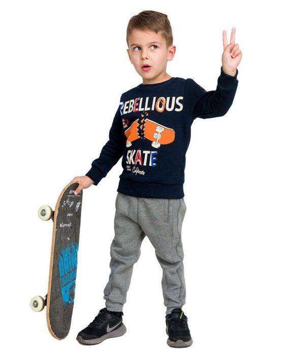 Completo bambino skater felpa e pantaloni