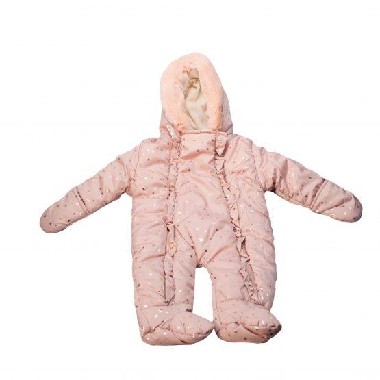 Tutone neonata imbottito con cappuccio eco pelliccia e volant