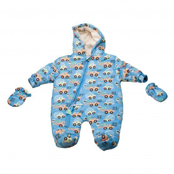 Tutone neonato con cappuccio e guantini