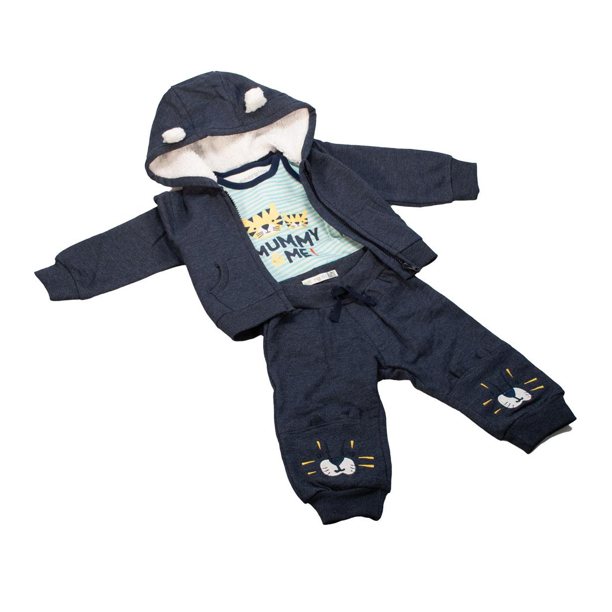Completo neonato 3 pezzi – body, felpa e pantaloni
