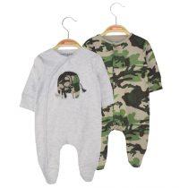 Set 2 pezzi tutine neonato – stile mimetico e grigio