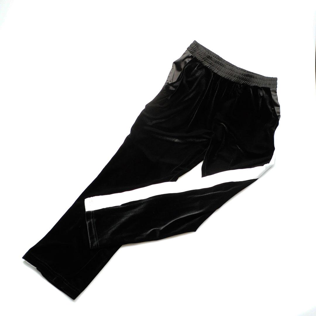 Pantaloni velluto con banda laterale in raso bianco
