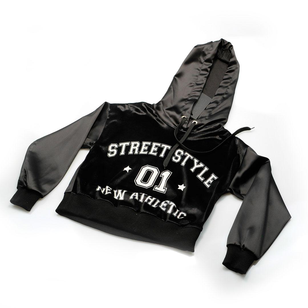 """Felpa bambina in velluto e raso """"Street Style"""" con cappuccio"""