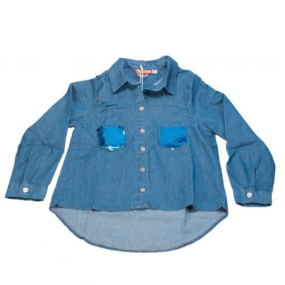Camicia in jeans con taschini in paillettes