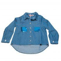 Camicia ragazza in jeans con taschini