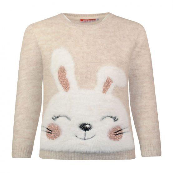 Maglione con coniglietto in morbida pelliccia