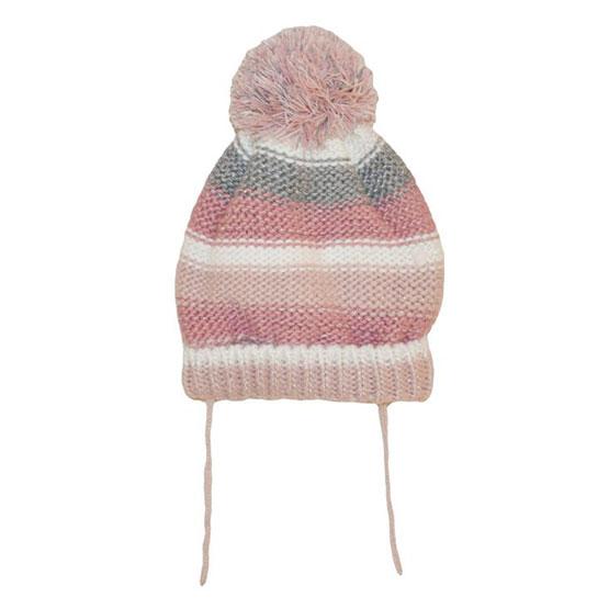 Cappellino neonata a righe con pon pon