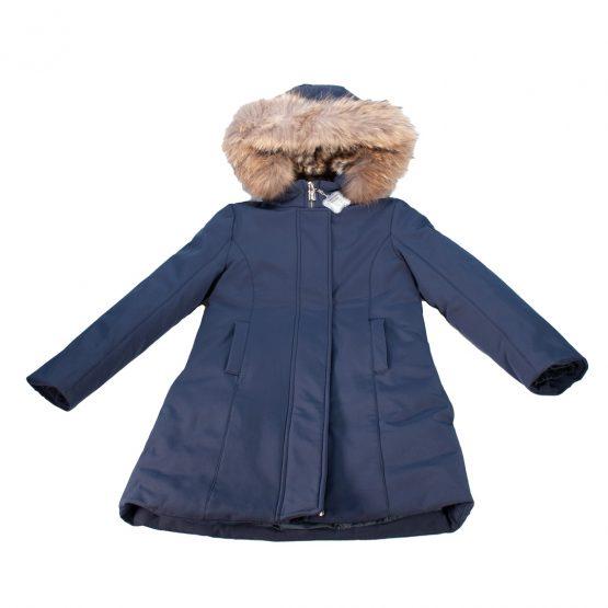 Cappotto parka con cappuccio removibile e profilo in pelliccia